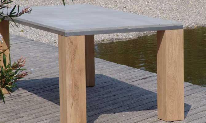 Esstisch aus beton holz edelstahl form in funktion for Marokkanische tische holz